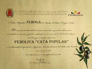Premio FEMOLIVA Cata Popular - Sariñena (ESPAÑA)